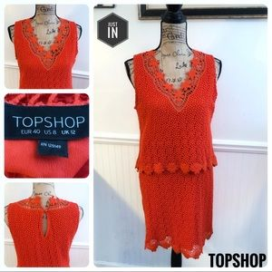 Topshop Coral Crochet Lace Dress Size 8